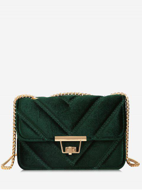affordable Stitching Quilted Chain Crossbody Bag - GREEN  Mobile