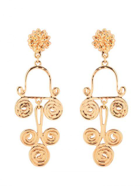 women's Antique Alloy Round Flower Earrings - GOLDEN  Mobile