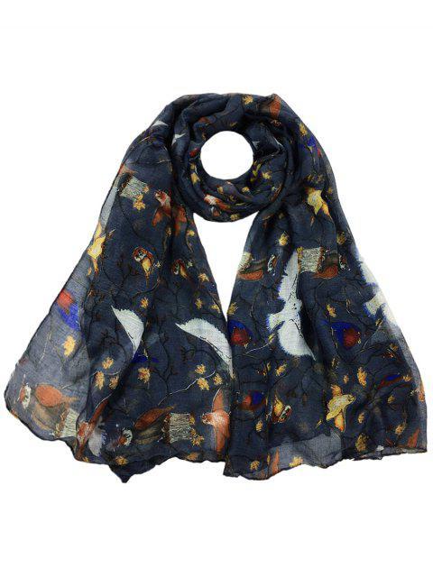 Patrón de pájaros suaves adornado escarpado bufanda larga - Gris Oscuro  Mobile