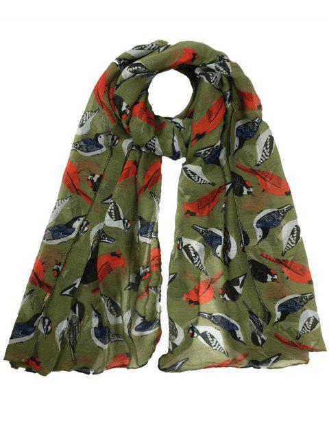 Patrón de pájaros volando decorado escarpado bufanda larga - Verde del ejército  Mobile