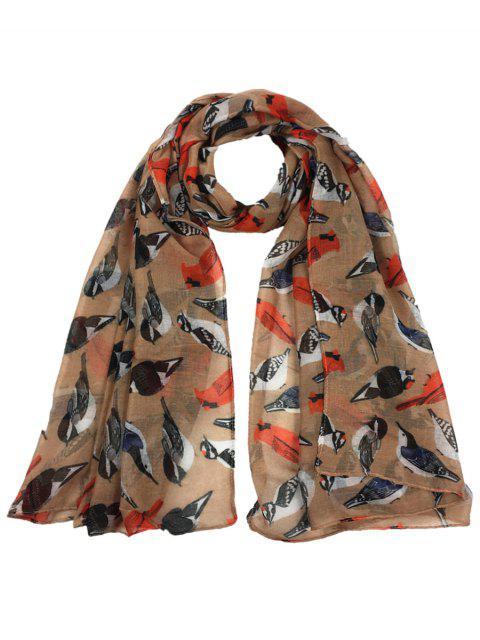 Patrón de pájaros volando decorado escarpado bufanda larga - Caqui  Mobile