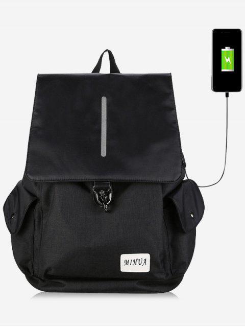 Gestreifte Seitentaschen USB Ladeport Rucksack - Schwarz  Mobile