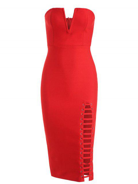 affordable Back Slit Cut Out Strapless Bandage Dress - RED L Mobile