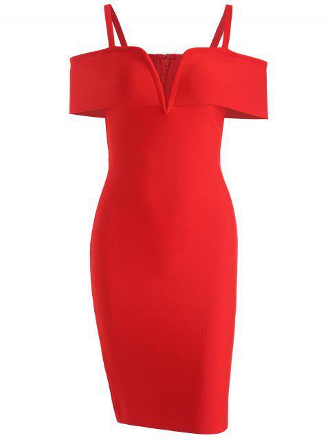 Vestido Cami de vendaje en hombros fríos - Rojo S Mobile