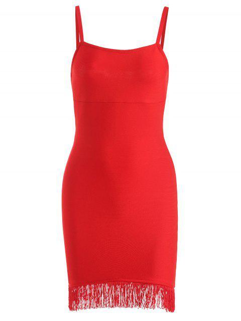hot Fringed Cami Bandage Dress - RED M Mobile