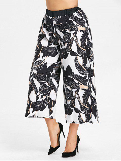 Pantalon Palazzo Imprimé Feuilles à Jambes Larges Grande Taille - Blanc-Noir 5XL Mobile