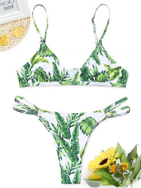 Leaf Print Gepolsterter Tanga-Bikini-Set - GREEN XL  Mobile