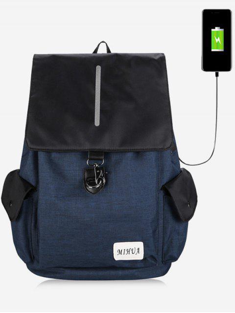 Gestreifte Seitentaschen USB Ladeport Rucksack - Blau  Mobile