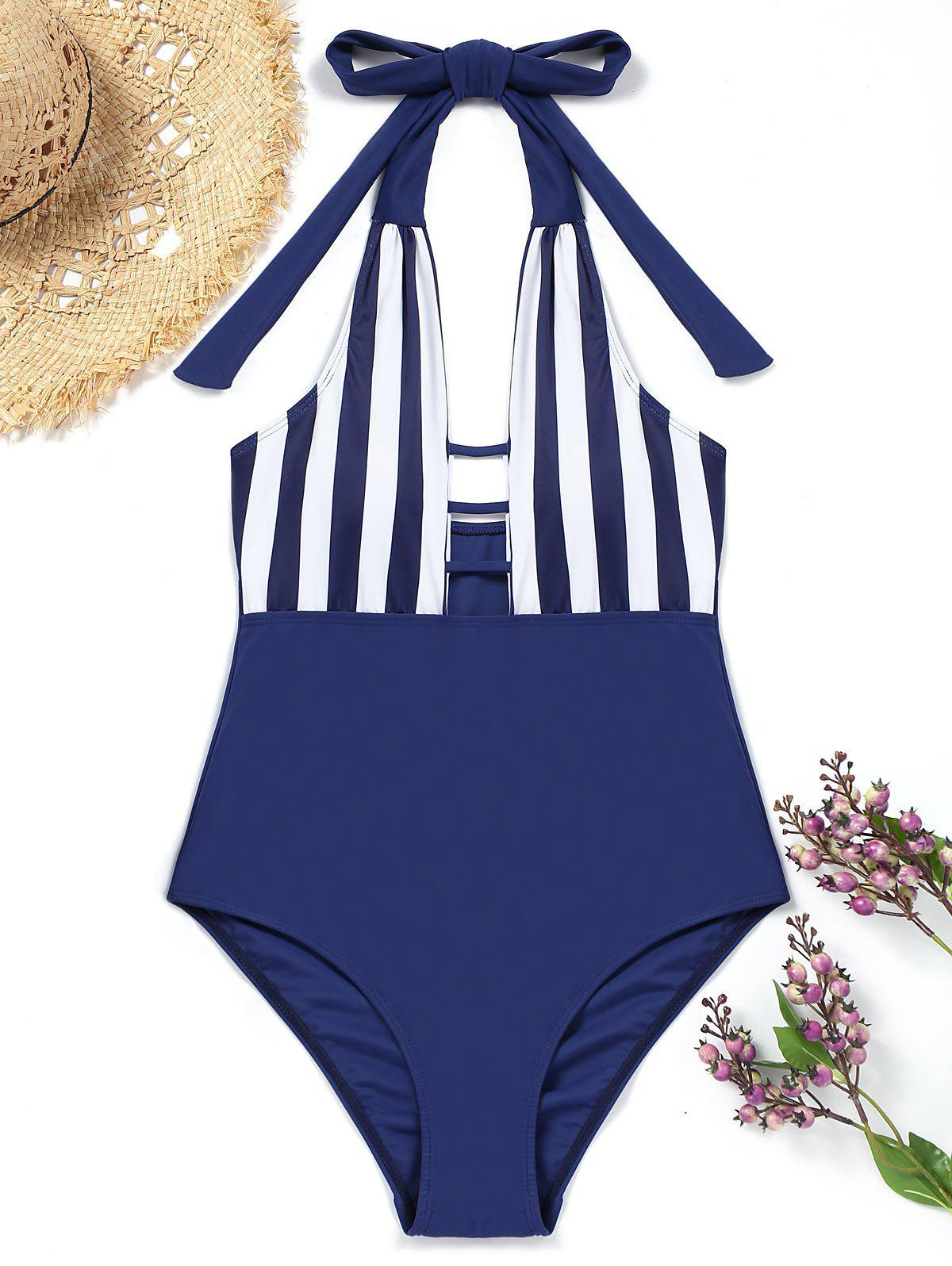 Halter Striped One piece Swimsuit 242623302