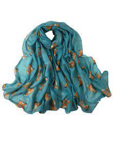 الكرتون الثعلب الديكور حريري طويل شال وشاح - أزرق سماوي