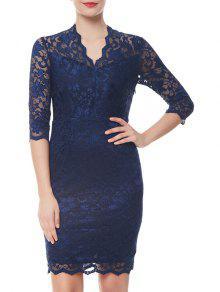 الخامس الرقبة غمد فستان الدانتيل الرسمي - أزرق M