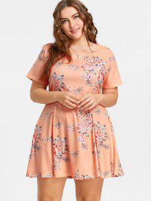 فستان سوينغ الحجم الكبير طباعة الأزهار - Orangepink 5xl