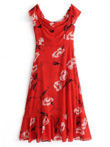 Flounces Floral Vestido De Ombro Maxi - Vermelho L