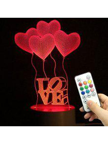 مصباح عيد الأم عيد الحب القلب بالون الحب اعتراف هدايا ليلة الخفيفة - شفاف