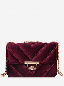 حقيبة كروسبودي مبطنة مع سلسلة معدنية - نبيذ أحمر