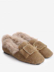 حذاء من الفرو بمشبك - كاكي 39 -