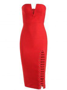 فستان الضمادة بلا الشريط ذو فتحات انقسام الظهر - أحمر S