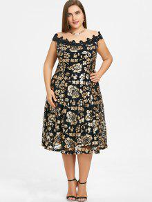 Plus Size Off Shoulder Floral Sequins Dress