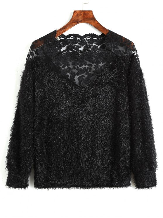 women's Lace Panel Textured Sweatshirt - BLACK ONE SIZE
