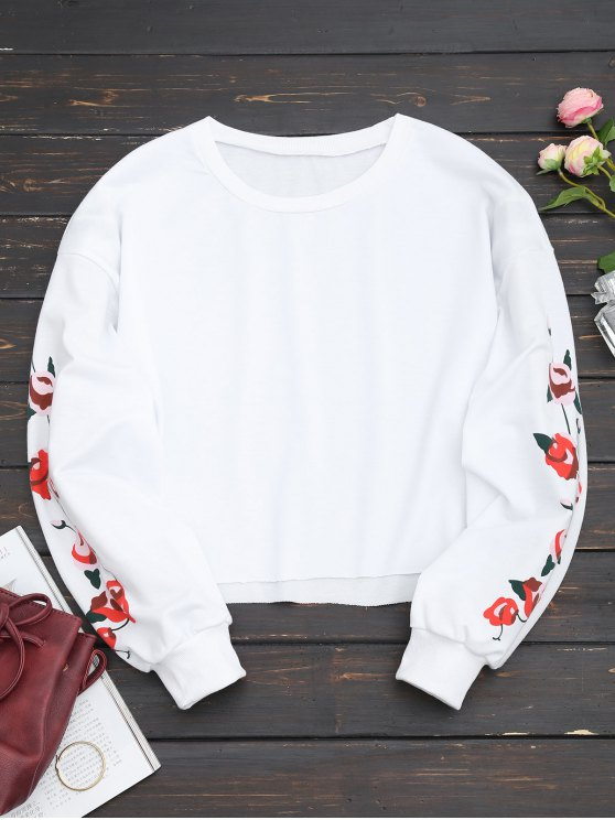 Cropped Floral Panel Sweatshirt - Weiß XL