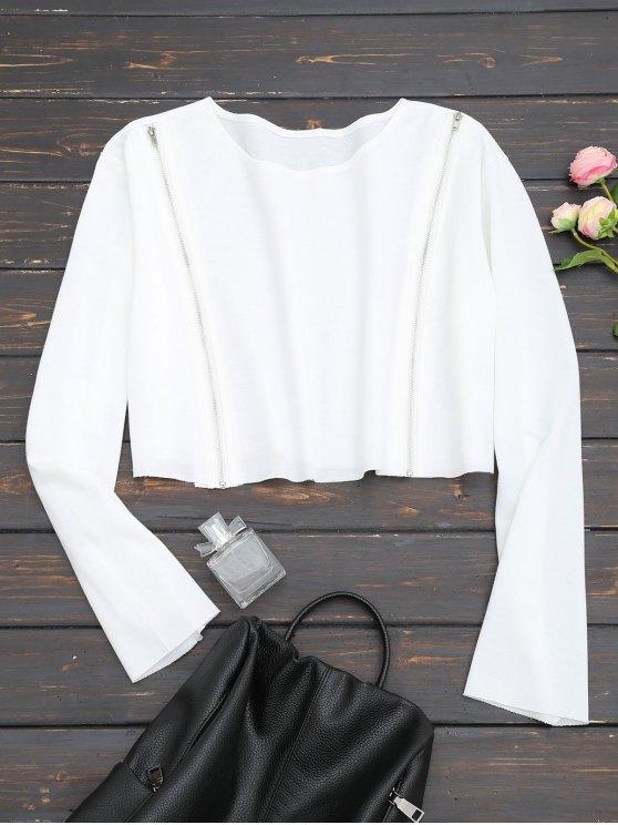 Felpa Corta Con Zip Frontale - Bianco XL