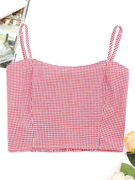 women Smocked Back Plaid Tank Top - RED ONE SIZE