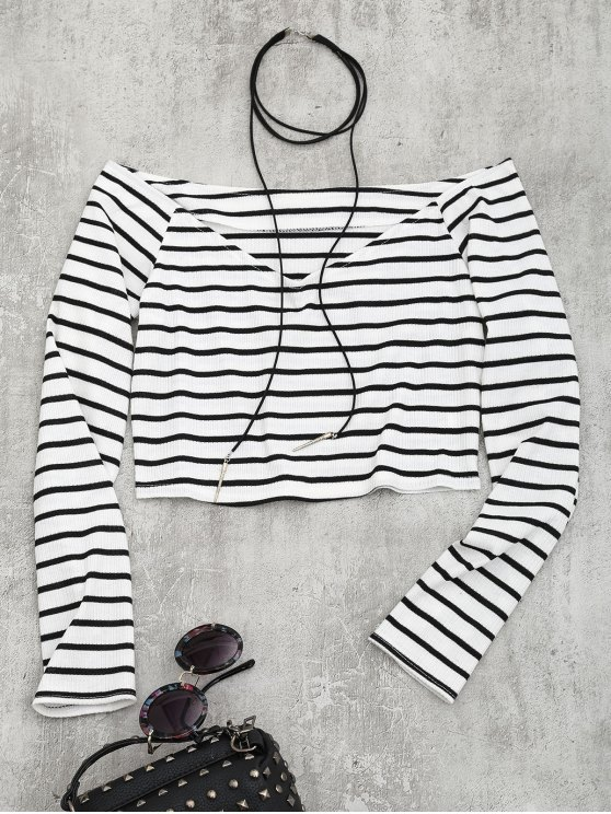 lady Cropped Striped Off Shoulder Top - STRIPE S