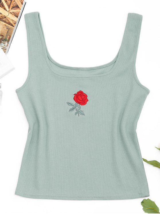Tank Top sin mangas bordado en color rosa - Verde Claro S