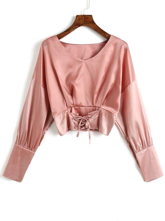 V-Ausschnitt Lace Up Satin Bluse - Rosa Eine Größe