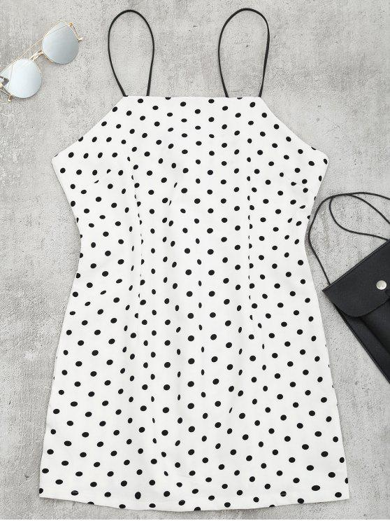 Mini Cami Dress a pois - Bianco L
