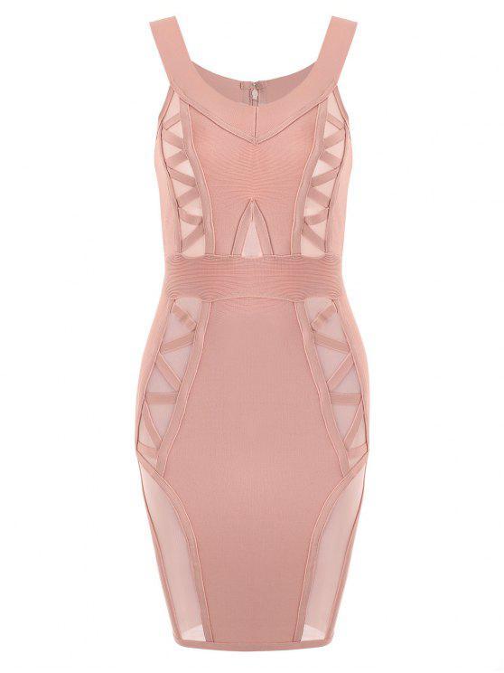 Vestido de bandagem do painel de malha de ombro - Rosa S