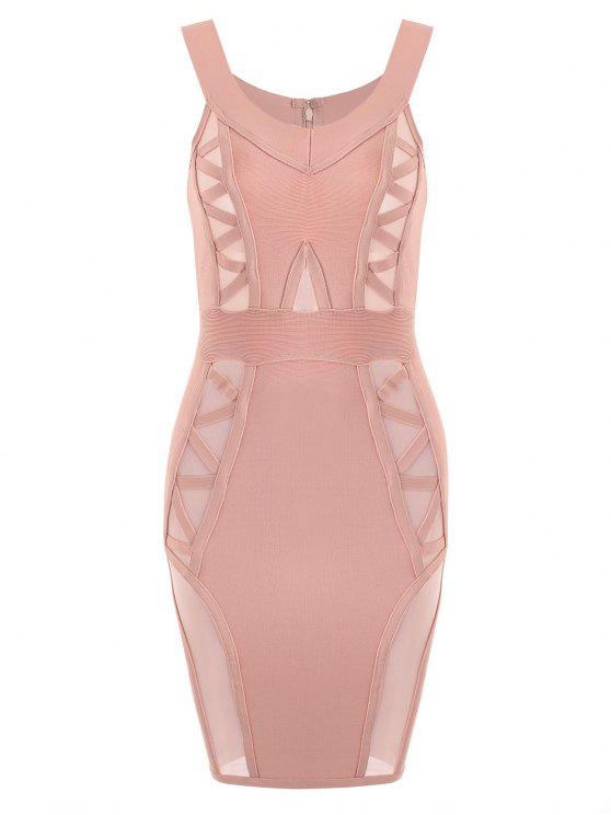 shop Off Shoulder Mesh Panel Bandage Dress - PINK M