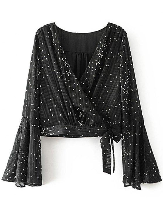 trendy Self Tied Polka Dot Wrap Blouse - BLACK L