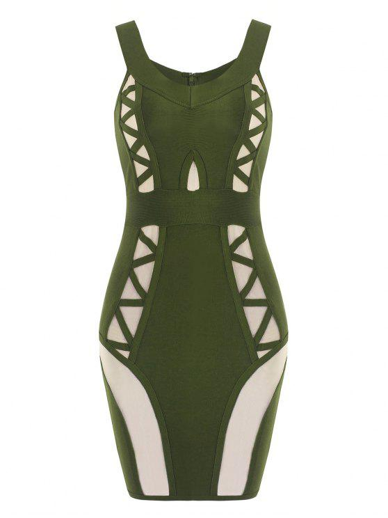 womens Off Shoulder Mesh Panel Bandage Dress - ARMY GREEN M