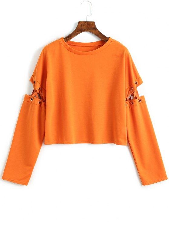 ladies Cut Out Lace Up Sweatshirt - ORANGE L