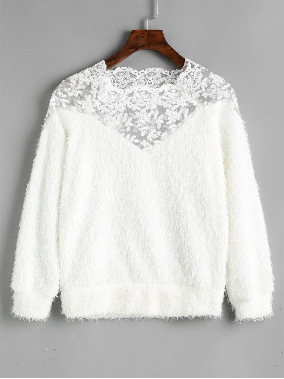 online Lace Panel Textured Sweatshirt - WHITE ONE SIZE