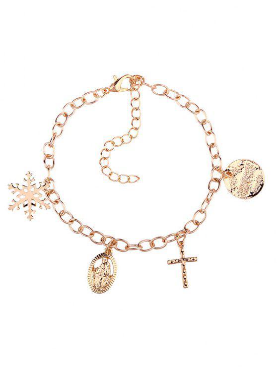 Bracelet Charmant Croix Jésus et Flocon de Neige - Or