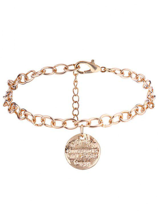Bracelete de Cadeia de Charme de Disco Gravado - Dourado