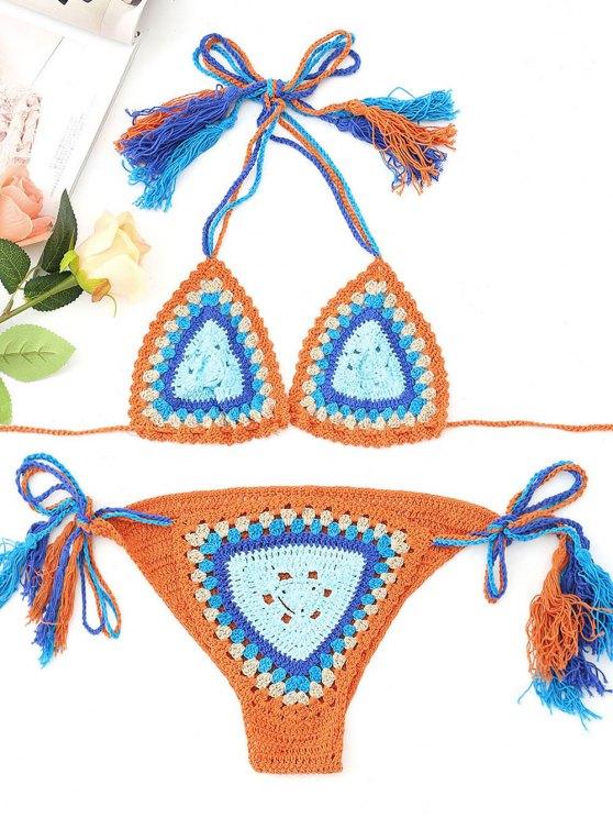 Conjunto de bikini de ganchillo bordado reversible - Naranja Única Talla