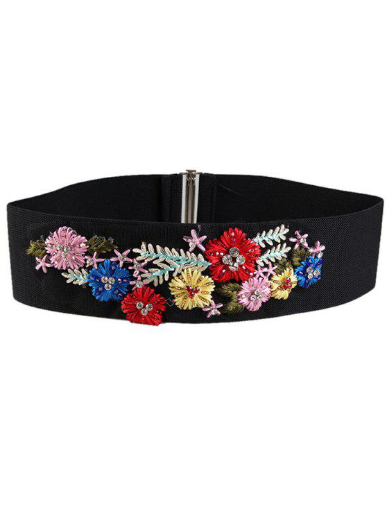 outfit Rhinestone Floral Decorated Elastic Wide Waist Belt - COLORFUL