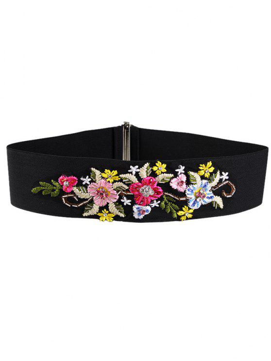latest Rhinestone Floral Decorated Elastic Wide Waist Belt - RED AND WHITE