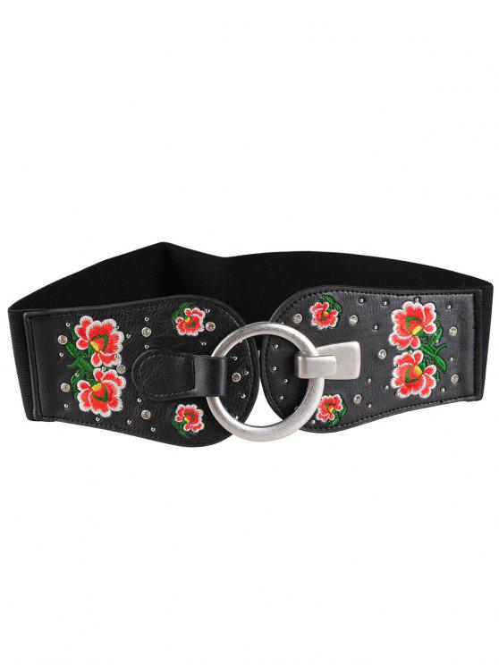 womens Round Buckle Floral Embroidery Decorated Wide Waist Belt - PATTERN D