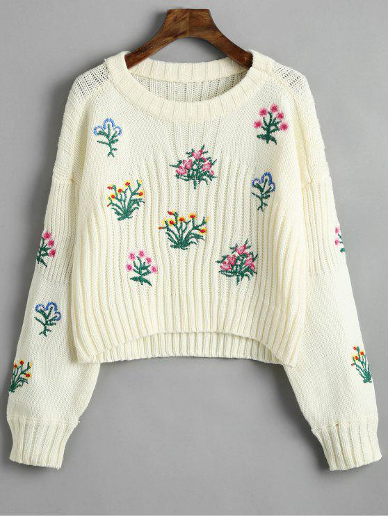 womens Crew Neck Floral Patched Sweater - BEIGE ONE SIZE