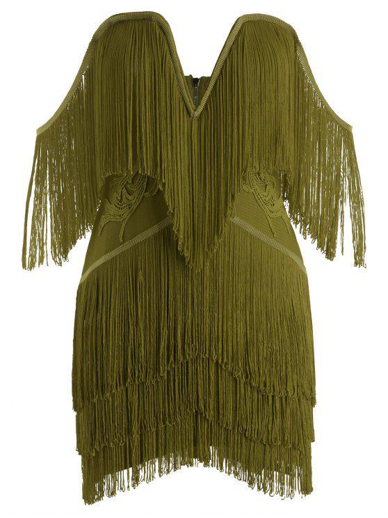 Vestito Benda Con Frange Senza Spalline - Verde Dell'esercito L