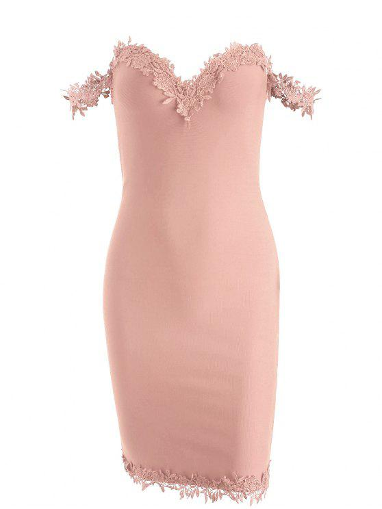 lady Off Shoulder Lace Panel Bandage Dress - PINK S