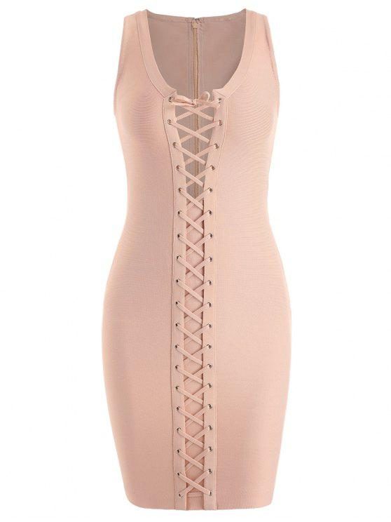 new U Neck Lace Up Bandage Dress - APRICOT L