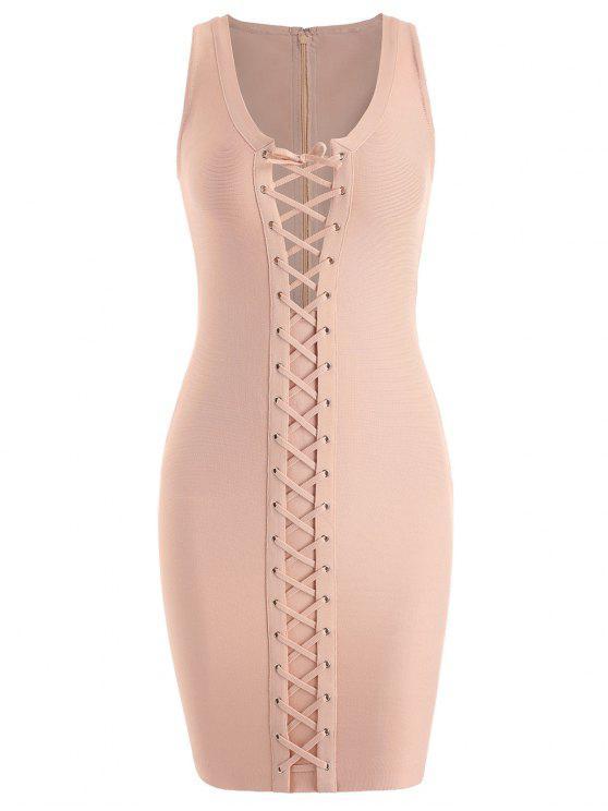 فستان الضمادة رباط الرقبة U - مشمش M