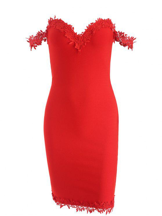 outfits Off Shoulder Lace Panel Bandage Dress - RED M