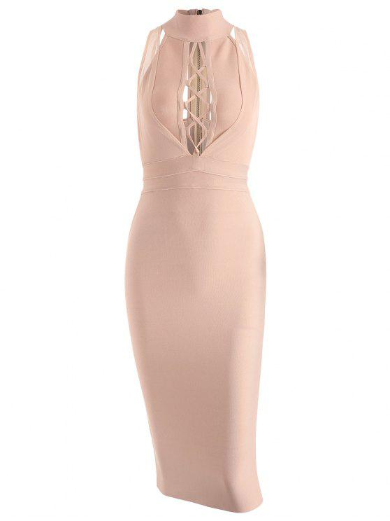 trendy Mesh Panel Criss Cross Bandage Dress - APRICOT L