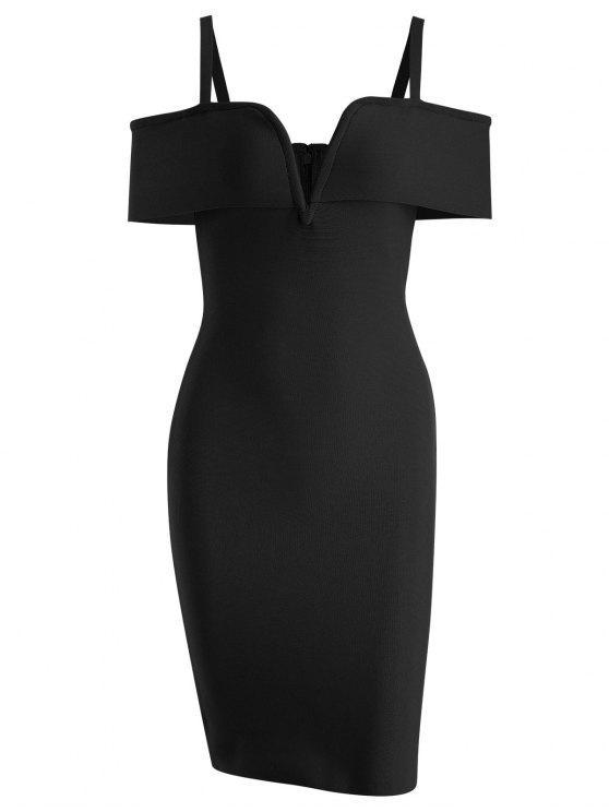 Vestido Cami de vendaje en hombros fríos - Negro S